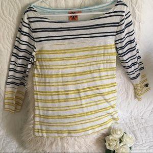 Tory Burch Striped 3/4 Sleeved Shirt Size Medium